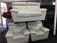 ScS New/Ex Display White/Cream Leather 2 + 1 + 1 Seater Sofas