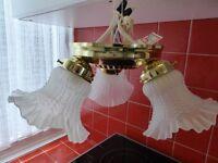 Brass effect three way ceiling lamp.