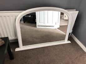 Wooden Arched mantel Mirror in white