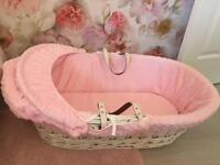 Moses Basket with Rocking Stand - White Wicker - Baby Girl