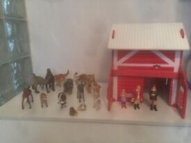 Farm building with animals