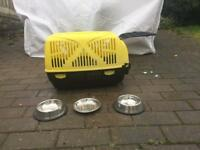 Cat Carrier and Bowls **OFFERS ACCEPTED*