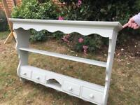 Painted kitchen wall shelving