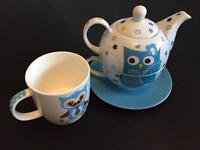 Cute Tea pod & tea cup set +free owl cup