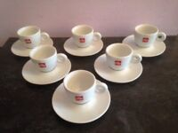 Illy Expresso Shorts Cups and Saucers sets of 6