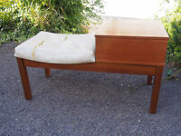 Very Retro Mid Century Funky Telephone Seat/Table with Teak Coloured Table & Surround Seat Needs TLC
