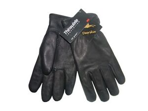 PETE RICKARD - NEW MEN'S LARGE BLACK INSULATED DEERSKIN LEATHER WINTER GLOVES