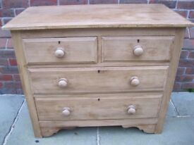 PINE CHEST OF DRAWERS. Delivery poss. ALSO : OLD PINE CUPBOARDS, PEW, DRESSER & DESK & CHURCH CHAIRS