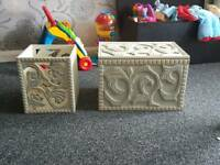 Hand crafted wooden box and matching bin