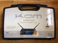 NEEDS TO GO -- ALMOST NEW KAM KWM1960 Dual Aerial UHF Wireless PLL System and Phonic Compact Mixer for sale  West End, London