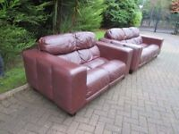 Modern Brown Leather 3 + 2 Suite