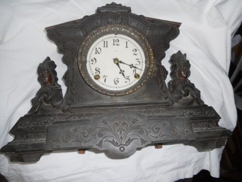Rare Old black Cast iron mantel Clock Circa: 1890-1900