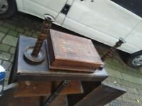 Antique solid wood candle stick holders central London bargain
