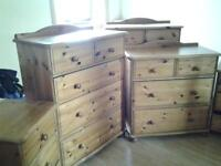 solid pine bedroom furniture 3 chest of drawers 2 bedside cabinets and a tall storage unit