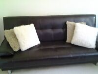 3 Seater Dark brown Faux leather Sofa Bed