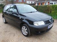 VW POLO 1.4S 2000 BLACK 5DR F.S.H P//STEERING ALLOYS 4 GOOD TYRES LADY OAP OWNER MOT 17 JUNE GOOD