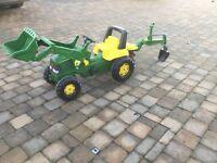 John Deere Tractor With Front Loader & Rear Excavator