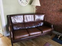 Stunning vintage style high back tan/brown 3 seater sofa/suite/chair