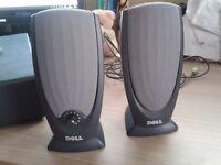 Pair of dark grey Dell PC speakers
