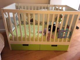 Ikea Cot with drawers STUVA Green