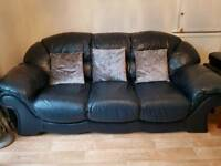 Leather sofa navy . 3 seater and large single seater