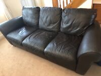 Free 2 and 3 Seater Leather Brown Sofa