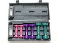 Three pairs of dumbbells (weights) in a case. Used but as good as new.