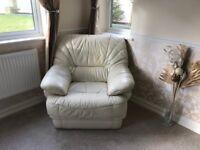 SOFA3 Piece Suite - Cream Leather Sofa 3 + 2 + 1 Excellent Condition Cost £2,000