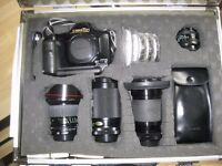 Canon T90 camera and accessories
