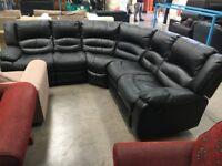 PRE OWNED Black Corner Reclining Sofa