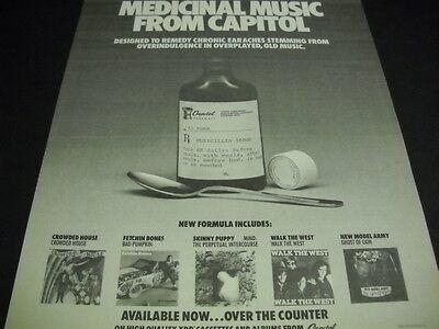 SKINNY PUPPY Walk The West NEW MODEL ARMY Crowded House FETCHIN' B 1986 promo ad