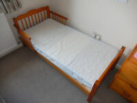 2 x Childs Beds with Mattresses, one blue painted, one natural wood finish, will sell separately.