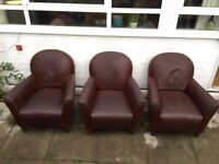 3 x Brown Leather Armchairs