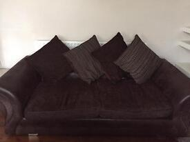 brown part leather sofas