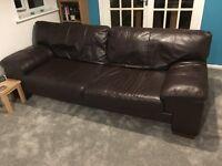 Harvey's leather sofa brown three seater