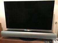 BANG AND OLUFSEN BEOVISION 7 MK3 TV WITH BEOLAB 7.2 SOUNDBAR AND B & O REMOTE