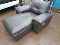Ikea black leather chaise lounge