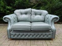 Original Chesterfield Buttoned Leather 2 Seater Sofa