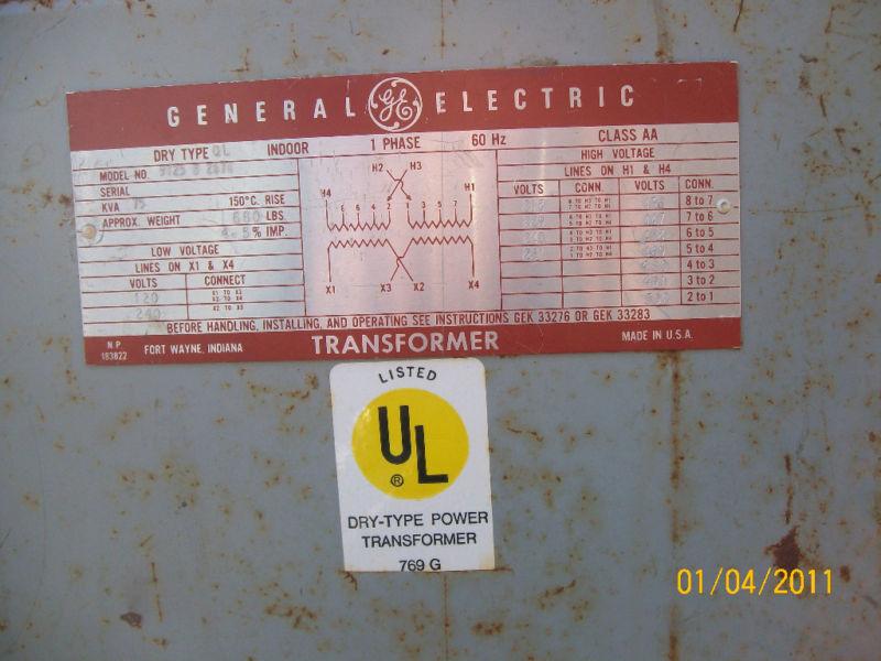 General Electric 75 kVA Dry Indoor Transformer Type QL