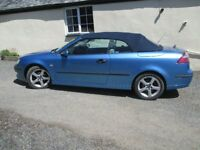 Saab 9-3 Vector 2 litre convertible in Exhibition Blue with navy hood