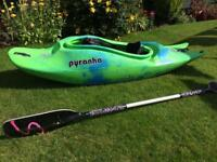 Pyranha 5 series agressive freestyle and blue kayak