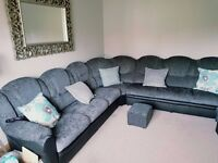 £499 UK DELIVERY BRAND NEW LARGE LUXURY CORNER SOFA LEATHER /CHENILLE FABRIC GREY BLACK BROWN CREAM