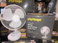 Challenge 12 inch white desk fan