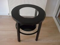 SMALL BLACK GLASS TOP TABLE GREAT CONDITION FROM SMOKE FREE HOME