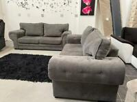 Grey chesterfield style 3+3 seater sofa set
