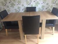 NEXT Malvern 4-6 Seater Square to Dining table & 4 Chairs.