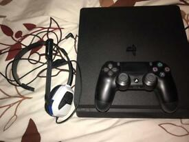 PlayStation 4 500gb Slim with controller and headset