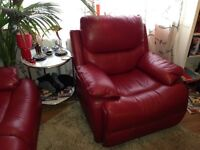 Leather sofa armchair (red), recliner