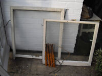 Two Edwardian sash windows with weights