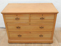 Vintage large chest of drawers with brass handles and key inserts (Delivery)